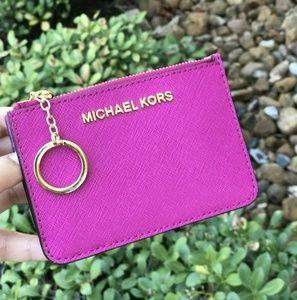 Michael Kors Coin Pouch ID Wallet Key Chain Fuschi